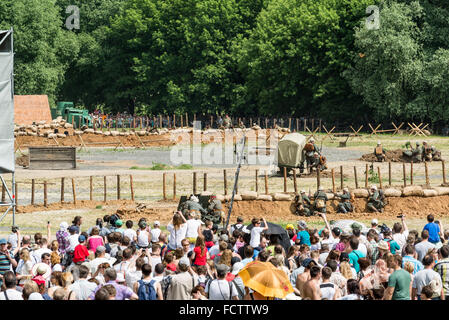 MOSCOW - JUNE 07: The staging battle during the First World War at the Historical Festival 'The Times and Epoch'. - Stock Photo