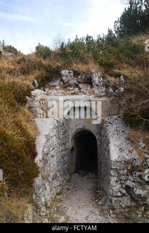 WWI. Asiago Plateau. Mount Forno. Austro-Hungarian machine gun nest in cave. Access tunnel - Stock Photo