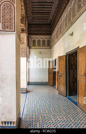 Detail of the entrance to one of the rooms in the Bahia Palace in Marrakech, Morocco. - Stock Photo