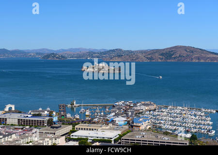 Elevated view of Marina and Alcatraz Island from Coit Tower on Telegraph Hill, San Francisco, California, USA - Stock Photo
