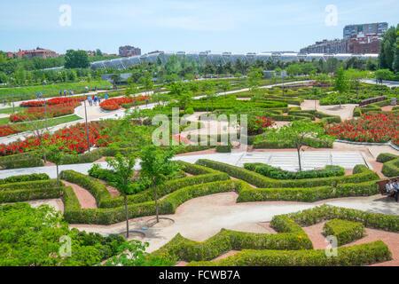 Gardens and Perrault bridge. Madrid Rio, Madrid, Spain. - Stock Photo