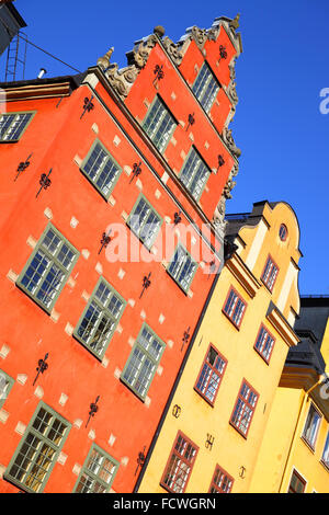 Old houses on Stortorget square in Stockholm. Inclined composition - Stock Photo