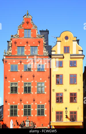 Old houses on Stortorget square, Stockholm - Stock Photo