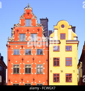 The most famous houses on Stortorget square in Stockholm, Sweden - Stock Photo