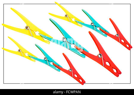 Nine coloured pegs clipped together against a white background - Stock Photo