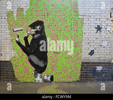Famous Banksy Graffiti CANS 2008 in London - Stock Photo