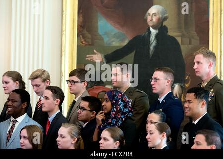 A portrait of George Washington is the backdrop for Senate Youth Program participants as they listen to President - Stock Photo
