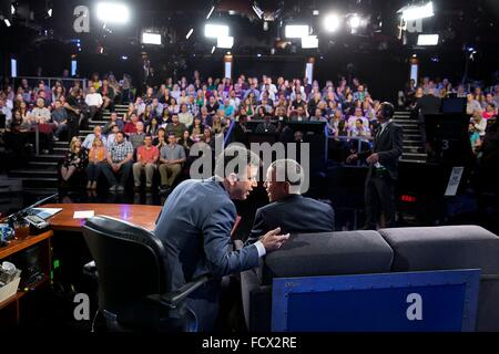 U.S. President Barack Obama during an interview with Jimmy Kimmel while taping the Jimmy Kimmel Live television - Stock Photo
