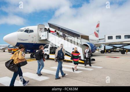 Passengers boarding Comair Boeing 737 aircraft, Port Elizabeth International Airport, Port Elizabeth, Eastern Cape, - Stock Photo
