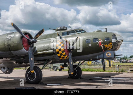 B-17 Flying Fortress G-BEDF Sally B is the last remaining airworthy B-17 in Europe. - Stock Photo