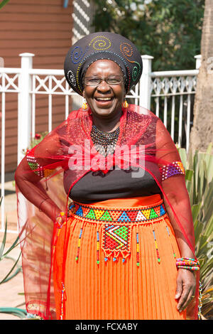 Zulu woman in traditional dress, Selcourt, Springs, East Rand, Gauteng Province, Republic of South Africa - Stock Photo