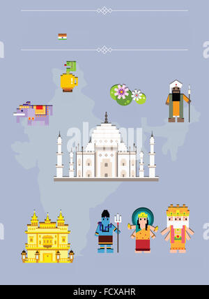 Global landmarks in India - Stock Photo