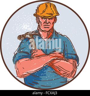 Drawing Sketch Style Illustration Of A Builder Construction Worker Arms Crossed Holding Hammer Viewed From Front