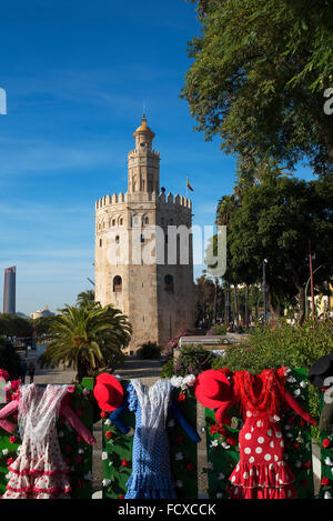 Maritime Museum in the Golden Tower on the banks of the River Guadalquivir  in Seville Spain. This Torre del Oro - Stock Photo