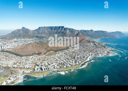 Aerial view of city and beaches, Cape Town, Western Cape Province, Republic of South Africa - Stock Photo