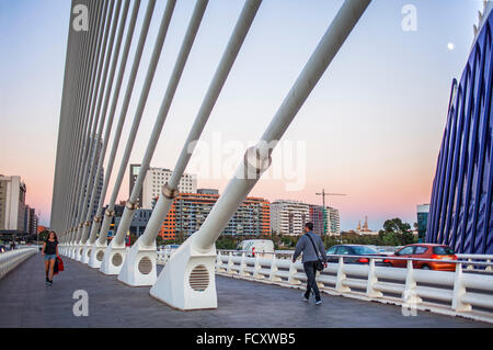 El Pont de l'Assut de l'Or, in City of Arts and Sciences. Valencia, Spain. - Stock Photo