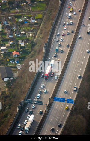 Aerial view, jam on the A40 motorway before the cross Kaiserberg, Duisburg, Ruhr, Nordrhein-Westfalen, Germany, - Stock Photo