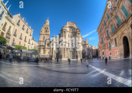 HDR Fisheye image of Murcia Cathedral and the Plaza del Cardenal Belluga in Murcia, Spain - Stock Photo