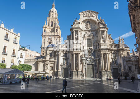 Murcia Cathedral and the Plaza del Cardenal Belluga in Murcia, Spain - Stock Photo