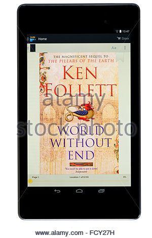 Ken Follett 2007 novel World Without End, digital book cover on PC tablet, England - Stock Photo