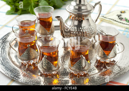 Moroccan Tea Set With Tea Pot Glasses And Other Equipment