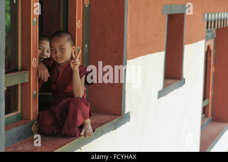 Young monks in Punakha, Bhutan - Stock Photo