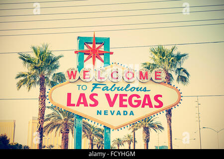 Old film style cross processed photo of the Welcome To Las Vegas Sign, USA. - Stock Photo