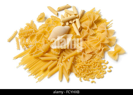Variety of traditional Italian pasta on white background - Stock Photo