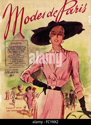 Cover of original vintage French fashion magazine Modes de Paris from 1940s dated 25th July 1947 - Stock Photo