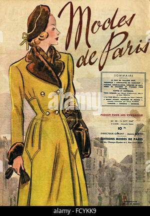 Cover of original vintage French fashion magazine Modes de Paris from 1940s dated 3rd October 1947 - Stock Photo