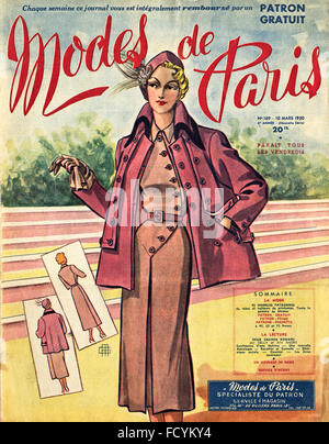 Cover of original vintage French fashion magazine Modes de Paris from 1950s dated 10th March 1950 - Stock Photo