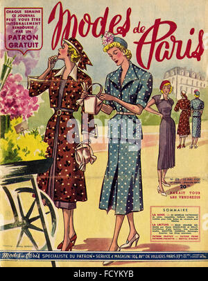 Cover of original vintage French fashion magazine Modes de Paris from 1950s dated 12th May 1950 - Stock Photo