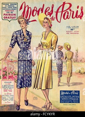 Cover of original vintage French fashion magazine Modes de Paris from 1950s dated 16th June 1950 - Stock Photo