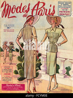 Cover of original vintage French fashion magazine Modes de Paris from 1950s dated 30th June 1950 - Stock Photo