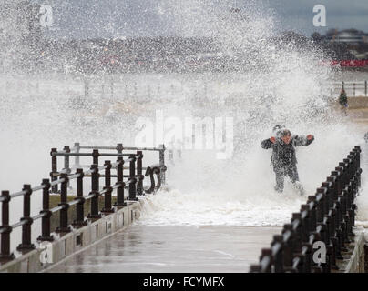 New Brighton, Birkenhead, Liverpool, UK. 26th January 2016. UK weather. High waves crash against the sea defences - Stock Photo