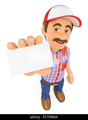 3d working people. Worker showing a blank card. Isolated white background. - Stock Photo