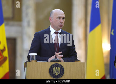 Bucharest, Romania. 26th Jan, 2016. Visiting Moldovan Prime Minister Pavel Filip attends a joint press conference - Stock Photo
