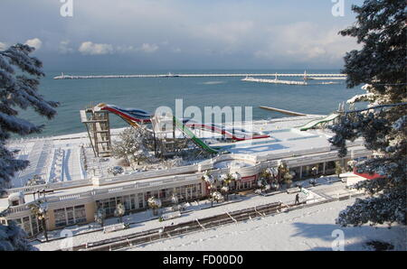 Sochi, Russia. 26th Jan, 2016. A view of a snow-covered water park after a heavy snowfall. Credit:  Artur Lebedev/TASS/Alamy - Stock Photo