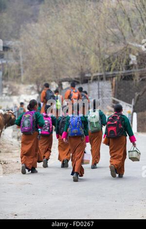 Schoolchildren in Traditional Costume, Jakar, Bumthang, Central Bhutan - Stock Photo