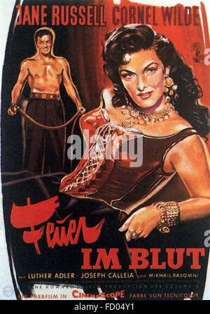 Hot Blood (1956)   - German Movie Poster - Stock Photo