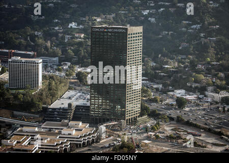 The Comcast NBCUniversal office building at Universal City Plaza in Hollywood. - Stock Photo