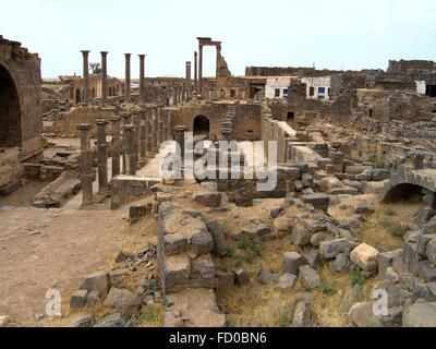 Roman ruins of the ancient citadel of Bosra June 13, 2006 in present-day Tadmur, Homs, Syria. Archaeological finds - Stock Photo