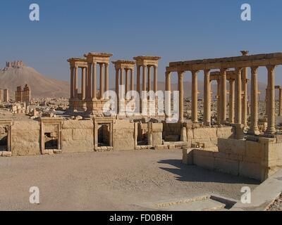 Tetrapylon in the Roman Empire ruins in the ancient Semitic city of Palmyra June 16, 2005 in present-day Tadmur, - Stock Photo