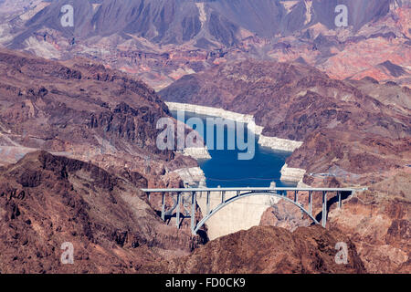 View of the Hoover dam and bridge on the boder of Arizona/Nevada - Stock Photo