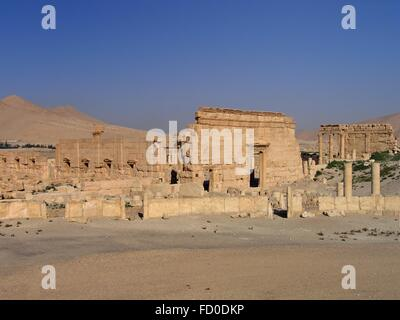 East entrance of the Agora Roman Empire ruins in the ancient Semitic city of Palmyra June 16, 2006 in present-day - Stock Photo