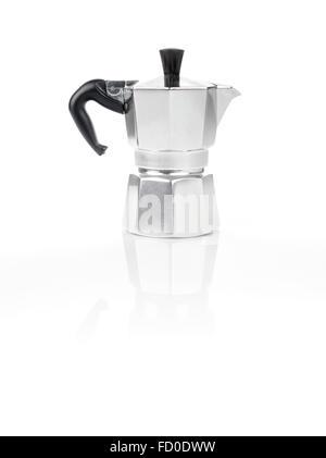 Moka Pot, also known as stove top espresso machine italian coffee maker on white background and reflection - Stock Photo