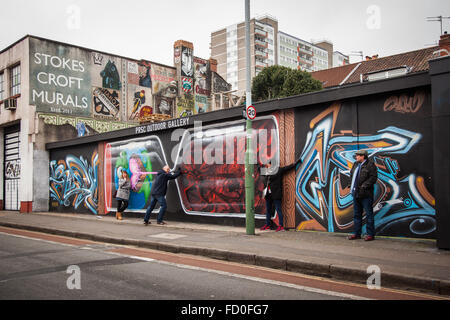 Street Art in Stokes Croft, Bristol, England - Stock Photo