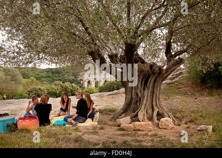 Picnic in Pont du Gard, Languedoc-Roussillon, France - Stock Photo