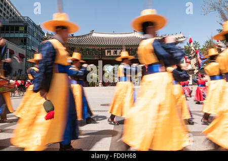 Chwiracheck, military band members during changing of the guard, Daehanmun Gate, Deoksugung palace,  Seoul, South - Stock Photo