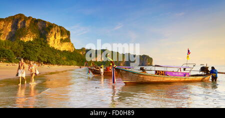 Thailand - Krabi province, Phang Nga Bay, sunset time on the beach - Stock Photo